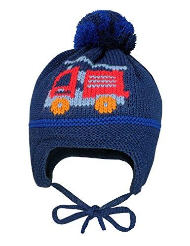 maximo Baby-Jungen Mütze Feuerwehr, Pompon, Bindeband, Blau (Navy 48)
