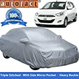 Autofact Premium Silver Matty Triple Stitched Car Body Cover with Mirror Pocket for Hyundai i10