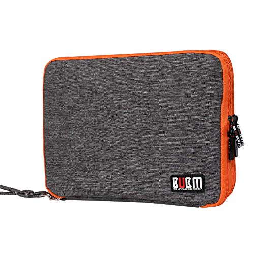 BUBM Universal Double Layer Cables Case for USB Cable Battery Charger Case Storage Mobile Disk Bag Travel Organiser Padded Electronic Case for iPad Mini - Grey & Orange (Large)