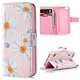 Lanveni iPhone SE 5S 5 Flip Stand Phone Case Cover ,3D Colorful Painting Premium PU Leather Wallet Handset Shell Bookstyle Cellphone Skin Pouch & Magnetic Closure & Card Slots Protective Pocket For iPhone SE & iPhone 5S & iPhone 5 Handphone ,Daisy