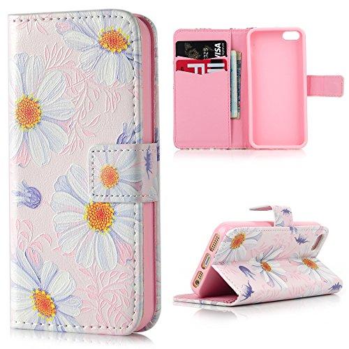 Lanveni Klapp-Schutzhülle für iPhone SE/5S/5, Relief-Design, Premium PU-Leder, Magnetverschluss, Kartenfächer, Standfunktion