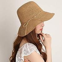 Sunbohljfjh Ziehen Sie faltbaren Sonnenschutz Hut des Hutes des Strohhutes weibliche Sonnenschutzmittel Fischer Hut Sonnenhut 55 * 58cm