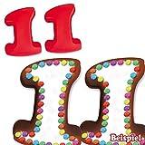 Backformen-Set 2 x Zahl 1 für 11. Kindergeburtstag oder Hochzeitstag aus Silikon