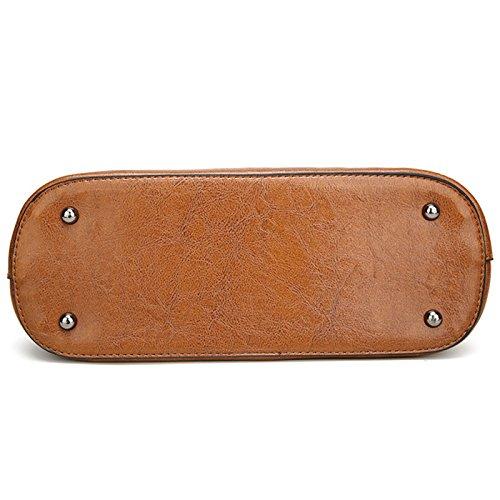 Rovanci Damen Handtasche Leder Umhängetasche Vintage Schultertasche große Shopper Taschen Black Brown