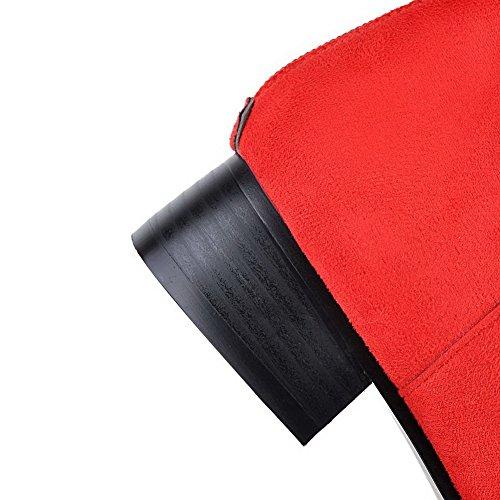 VogueZone009 Damen Reißverschluss Spitz Zehe Niedriger Absatz Niedrig-Spitze Stiefel Rot