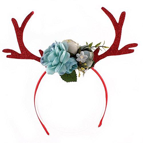 hereubuy Weihnachten Hirsch Geweih Stirnbänder mit Blumen Blossom Adult Kid DIY Weihnachten Haarband Cosplay Kostüm