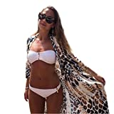 Manteau Femme Koly Femmes Leopard Vetement Boho Imprimé En Mousseline De Soie ChâLe Kimono Cardigan Tops Cover Up Blouse Sexy (XL)