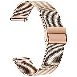 TRUMiRR Remplacement pour Fossil Women's Gen 4 Venture HR Bande de Montre, 18mm Bracelet de Montre en Acier Inoxydable tissé Bracelet à libération Rapide pour Fossil Q Women's Gen 3 Venture DW 36mm