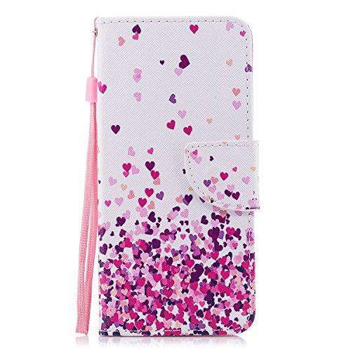 Cozy Hut Wiko View XL Hülle, Premium PU Leder Flip Tasche mit Integrierten Kartensteckplätzen & Ständer,Magnetverschluß Wallet Case für Wiko View XL - Rosa Farbe Herz