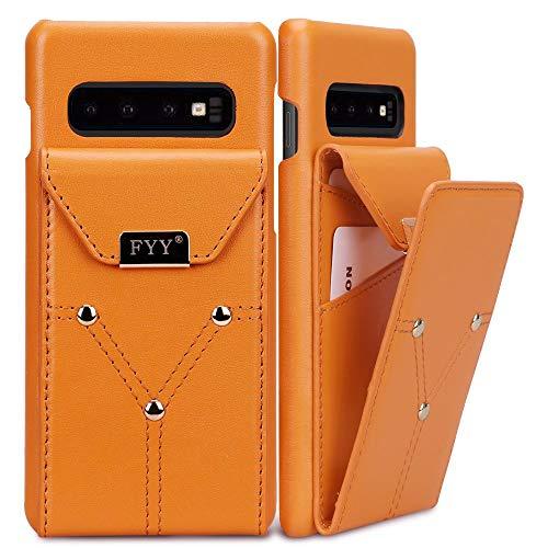 FYY Schutzhülle für Samsung Galaxy S10 15,2 cm (6,1 Zoll), aus echtem Rindsleder, handgefertigt, große Kapazität, mit Kartenfächern für Samsung Galaxy S10 6,1 Zoll 2018, gelb