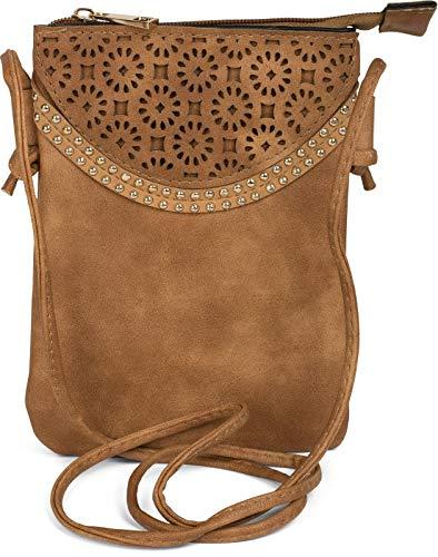 styleBREAKER Minibag Umhängetasche mit Blumen Cutout Muster und Nieten, Schultertasche, Tasche, Damen 02012127, Farbe:Camel