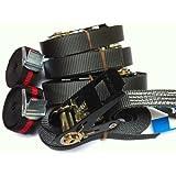 iapyx Lot de 4 sangles à cliquet charge max. 800 kg Noir 5 m + 2 sangles à fermeture par serrage Duo250 Noir 2,5 m