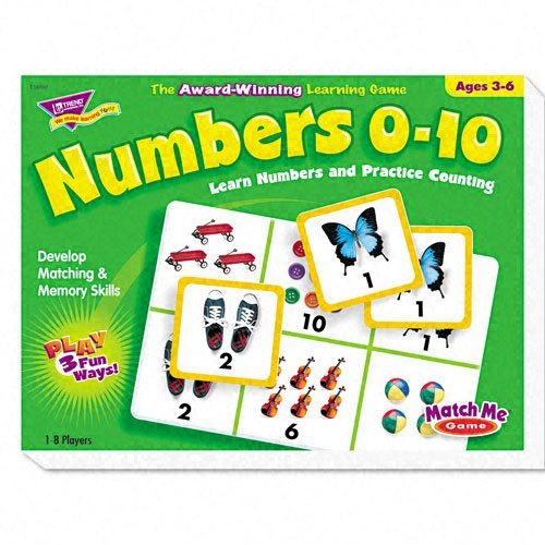 TREND Products - TREND - Numbers 0-10 Match Me Puzzle Game, Ages 3-6 - Sold As 1 Each - Award-winning game. - Game plays three ways. - Uses matching, memory and word/picture skills. - Includes eight two-sided game boards and 48 cards. - 1-8 players. by TREND?·E?? (Game Board Awards)