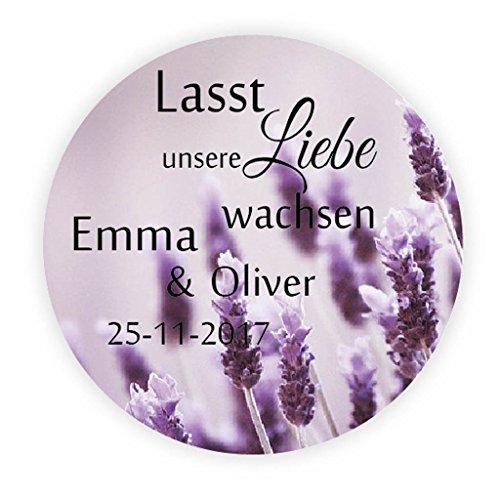 48 personalisiert Lavendel Hochzeitssticker - Lasst unsere Liebe wachsen Aufkleber - 4 cm selbstklebende Etiketten für die Hochzeit,Gastgeschenk,Tischdeko,Flaschen,Tüten,Briefen,Einladungen - Rd 061 (Wachsen Lavendel)