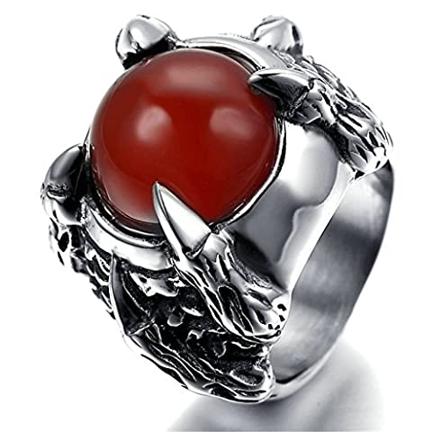 KnSam Men Stainless Steel Band Rings Red Agate Claw Comfort Fit Silver Size P 1/2 [Novelty Ring]