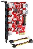 Inateck KTU3FR-5O2U Scheda di espansione Superspeed 7porte PCI-E a USB 3.0,5porte USB 3.0e 2porte posteriori USB 3.0, desktopExpress Card con 15pin, connettore di alimentazione SATA, inclusi due cavi di alimentazione