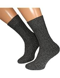 6 Paar warme Norweger - Socken anthrazit meliert mit Wolle, und weich gepolsterter Plüschsohle