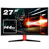 HKC G27 - NB27C2, 27 Zoll (68.60cm) LED Gaming Monitor, Curved 1800R, 144Hz, Full-HD 1920x1080, (16:9, 300cd/m2, 3000:1, DisplayPort, HDMI, DVI, Freesync, Low-Blue light), schwarz/rot
