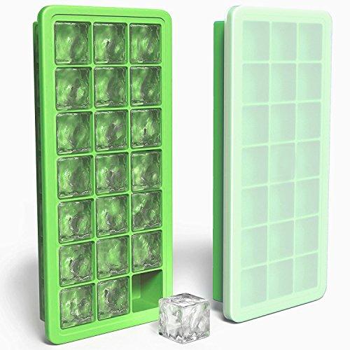 MAIGG Eiswürfelform Silikon Eiswürfelbehälter - 100 % BPA frei Eiswürfel Eiswürfelschalen einfach zu bedienen - Saft, Pudding, pürierte Babynahrung in der Kühlschrank und Backofen - Grün