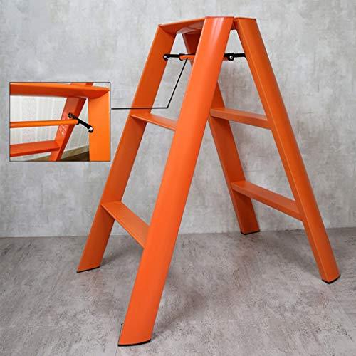 YJLGRYF Klapptritt Faltbarer Aluminiumlegierungsleiter-Hocker aufsteigende Leiter vielseitige bewegliche Arbeitsplattform rutschfeste Schrumpftreppenleiter 150kg Kapazität (Farbe : Orange)