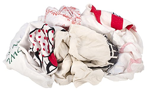 Poly Tee (Buffalo Industries 61580 Recycled White Tee Shirt Rags with Trim, 1-Pound Poly Bag)