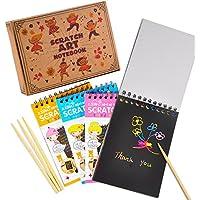 aGreatLife® Almohadillas de Dibujo Raspables Conjunto de 4 Cuadernos de Garabatos Multicolores con Papel Raspable Negro y 4 Lápices de Madera
