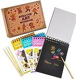 aGreatLife Almohadillas de Dibujo Raspables Conjunto de 4 Cuadernos de Garabatos Multicolores con Papel Raspable Negro y 4 Lápices de Madera