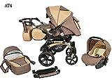 Kinderwagen Babywagen Kombikinderwagen Baby Merc Maylo Twist 3 in 1 Komplettset mit Zubehör 0-3 Jahre 0-15 kg Insektenschutz Netz Regenschutz Getränkehalter Buggy Autositz (Beige)