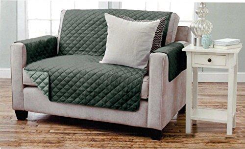 Sofaschoner zweiseitiger Sofaüberwurf Polsterschutz Sofabezug - gesteppt mit Armlehnen und DREI Taschen - Größe: 2-Sitzer ca. 191 x 224 cm - Farbe: Anthrazit/Hellgrau