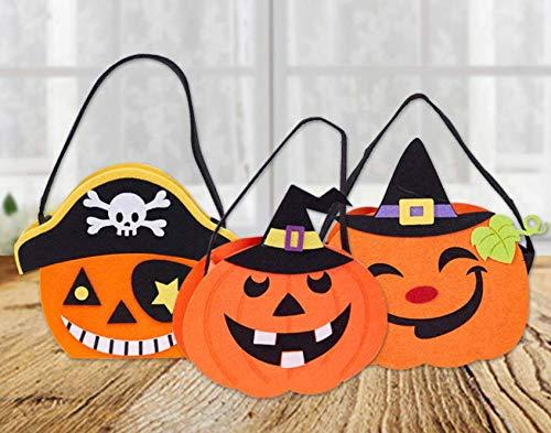 YC DOLL Halloween Candy Bag, Kürbis Beutel, Set Von 3 Halloween Party & Holiday Trick-Oder-Treat Tote Tasche/Halloween Candy Totes Bag/Kostüm-Accessoire Totes Bag/Halloween-Leckereien Taschen (Für Partys Halloween-dekorationen, Leckereien)