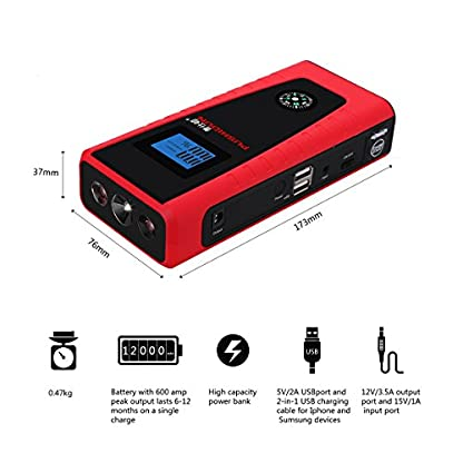 51DcB9HtYYL. SS416  - Arrancadores De Coche 12000mAh 600A Emergencia Bateria Kit Arranque para 12V 4.0L Gasolina & 2.0L Diesel Con Pinzas Inteligentes, Pantalla LCD, LED, USB Puertos para Emergencia Smartphones