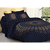 Vashishtha Badmeri Print Bedsheet For Double Bed With Pillow Cover - Cotton Bedsheet With 200 Thread Counts - Printed Bedsheet With Pillow Case For Home Decor - Dark Blue