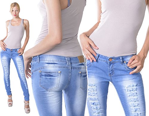 BCS 165 Damen Hüftjeans Risse Jeans Röhre Fetzenjeans Hose Blau, Größe 40