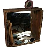 Online Art Effects Mirror Wall Hanging Re-Cycle ( Saal Wood) Shorea Robusta) Mirror Frame Size-lxbxh-60x60x15 CMS