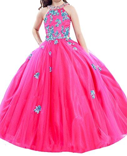 PuTao Blumen Mädchen Spitze Hochzeitsfeier Prinzessin Ball Pageant Kleider Fuchsia Blue 12