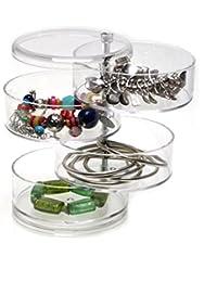 Boîtier de stockage anneau Boîte de rangement pour bijoux Accessoires pour cheveux Boîte Boîte pivotante à 4 couches Boîte acrylique pivotante Transparente Forme ronde Jewelry Storage Box Ring Storage Case