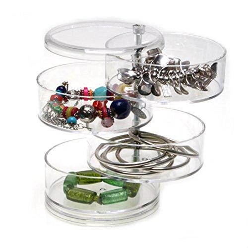 Kunststoff klar Schmuck Storage Box Ring Speicher Schutzhülle Swivel 4-lagige Acryl-Box, rund (Storage-schmuck-box Ring)