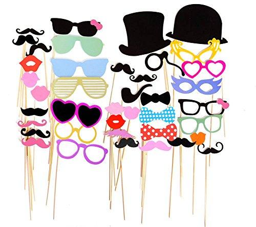 Imagen de cabina de fotos con accesorios para fiestas, aitesco 75 piezas diy photo booth props atrezzo favorecer incluyendo máscara gafas labios rojos corbatas sombreros para el partido, boda, cumpleaños del favor, de la graduación alternativa