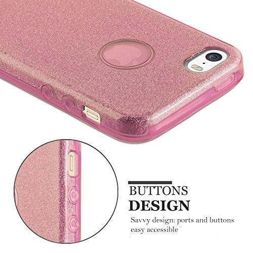Cadorabo - Luxueuse Apple iPhone 5 / 5S / 5G Ultra Slim TPU Paillettes Etui Housse Coque Case Cover Bumper Gel (silicone) Brillant Diamant en TURQUOISE-POUSSIÈRE-D'ÉTOILES ROSA-POUSSIÈRE-D'ÉTOILES