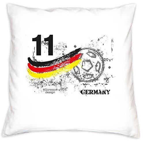 Preisvergleich Produktbild Fußball-Kissen ::: Nr. 11 Germany ::: Geschenk für Fußball Fans Deutschland ::: inkl. Füllung