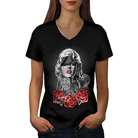 Marilyn Gewehr Rose Gangster Schön Gang Damen L V-Ausschnitt T-shirt | Wellcoda