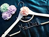 Personalized Wedding Hanger, bridesmaid gifts, name hanger, brides hanger hanger with pearl