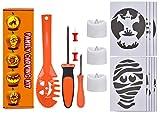 Lelengder Kürbis-Schnitzset 16-teilig inkl. 9 Schnitz-Vorlagen und 3 LED-Licht mit Funktion - für KinderDeco Halloween Schnitz-Werkzeuge Schnitzwerkzeug