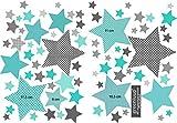 greenluup Öko Wandsticker Wandaufkleber Wandtattoo Kinderzimmer Sterne in Dark Mint Grün TürkisBabyzimmer Kinder Baby Mädchen Junge Tapetensticker ohne Chlor und Weichmacher (Sterne dark Mint Türkis)
