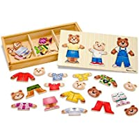 Melissa&Doug Mix 'n Match Wooden Bear Family Dress-Up Puzzle With Storage Case (45 pcs)