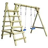 Tidyard Schaukelgestell mit Leitern Schaukel Schaukelgerüst Doppelschaukel mit Kletteranbau aus Kiefernholz Holzschaukel 268 x 154 x 210 cm