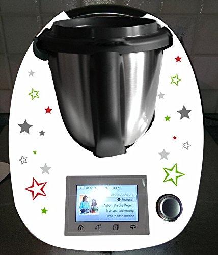 Aufkleber passend für Thermomix TM 5 Sterne grau - Fünf-sterne-küchenmaschine