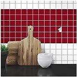 Wandkings Fliesenaufkleber - Wähle eine Farbe & Größe - Weinrot Seidenmatt - 5 x 5 cm - 300 Stück für Fliesen in Küche, Bad & mehr