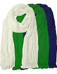 Omikka Plain Pure Cotton Traditional Dupatta For Women's Combo (Pack-3)white,green,blue