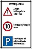 LEMAX® Kombischild Betriebsgelände, STVO+10 km/h+Parken, Aluminium, 600x900mm